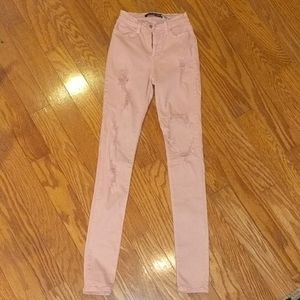 Fashion Nova Pink Destroyed Jeans Size 1
